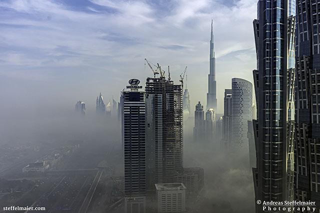 Foggy sunrise in Dubai Andreas Steffelmaier Photography
